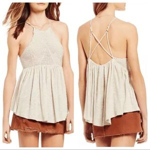Free People Small Road Trip Knit Crochet Top Cream